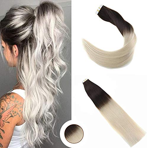 Ugeat Braun zu Blond Ombre Tape in Hair Extensions 18 Zoll 50/20pcs Glatt Brasilianisch PU Echthaar Tressen Haar Extensions