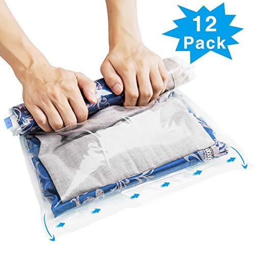 Crxoox 12 pezzi sacchetti buste sottovuoto salvaspazio sacchetti di compressione hand roll up sacchetto trasparente viaggio per abiti piumoni biancheria da ietto cuscini coperte tende