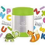 Mummy Cooks - Lunchbox Boite Alimentaire Thermos Enfant Récipient Isotherme et Hermétique Conservation Repas Chaud ou Froid Inox 300ml (Vert) - STICKERS OFFERTS