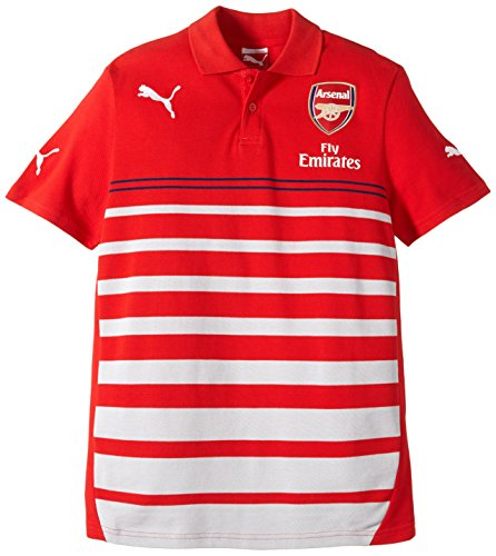 PUMA Kinder Polo Shirt AFC Leisure Hooped with Sponsor High Risk Red-Gray Dawn-Estate Blue-White