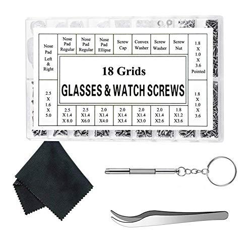 Globalflashdeal Brille Reparatur Set Sonnenbrillen Brille Reparatur Set Brillen Schraube Mit 12 Paaren Nasenpad Schraubendreher Pinzette Glasreinigungstuch Für Uhr Clock Brillenglas Reparatur