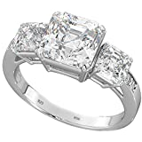 BestToHave Ladies Ring - 3-Stone Asscher Cz 925 Sterling Silver Wedding Engagement Bridal Ring P