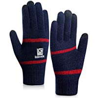 coskefy Knit Gloves Men Women Running Gloves Touchscreen Cycling Gloves Wool Lined Texting Gloves for Winter Spring Fall