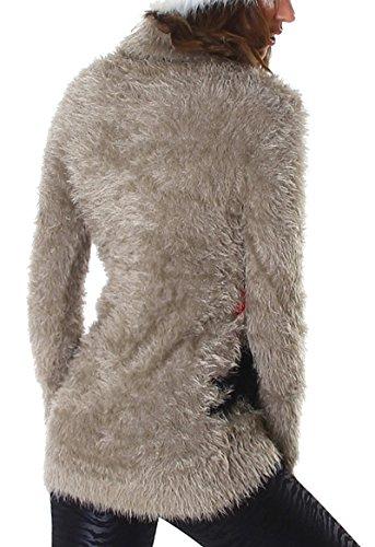 Reckon Damen Slim-Fit Rollkragen Pullover Longpulli Pulloverkleid Strickkleid Sterne (34 36 38) Macchiato