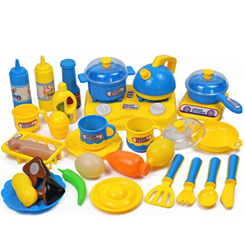 Kids Cooking Set, Foxom 33Pcs Pretend Play Kitchen Cooking Playset Cookware Set Educational Toy for Children Kids (Blue)