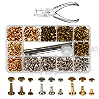 300 Sets 3 Sizes Leather Rivets KAKOO Double Cap Rivet Buttons Press Studs with Pliers and 3 Pieces Fixing Set Tools for Rivets Replacement DIY Craft Repairing Decoration