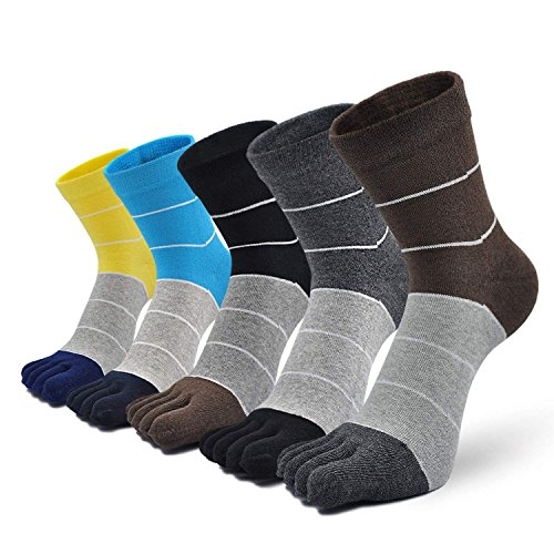 Herren Zehensocken Baumwolle Männer Fünf Finger Socken Sport Laufende Socken mit Zehen, EU 39-44, 5 Paare (klassisch gestreift-5 Paare)
