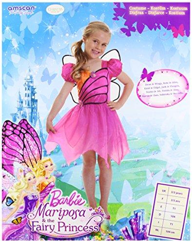 Barbie CA13727V3-S - Kinderkostüm Mariposa Fairy, Größe S, violett/pink (Barbie Fee Kostüm Mädchen)