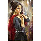 Handgefertigt Abstrakt hohe Fähigkeiten Künstler Pure Spanische Flamenco Elegante Girl Dancer Ölgemälde auf Leinwand Beautiful Wall Kunst für Wohnzimmer, canvas, 24x36inch(60x90cm)