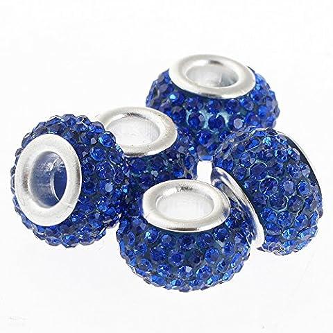 Rubyca gros trous 11mm cristal Charm perle pour bracelet charms européens, bleu marine, 100 PCS