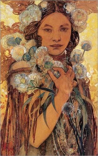 Alu Dibond 70 x 110 cm: Indianerin mit Blumen und Federn von Alfons Mucha
