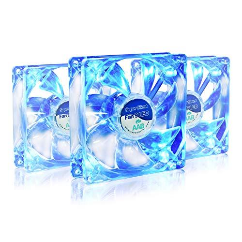AAB Cooling Super Silent Fan 9 Blue LED - Un Silencioso y Muy Efectivo Ventilador 92mm con LED Azul | Fan Cooler | Ventilador 9cm | Fan PC 12V | 58m3/h | 1600 RPM - Conjunto de 3 Piezas