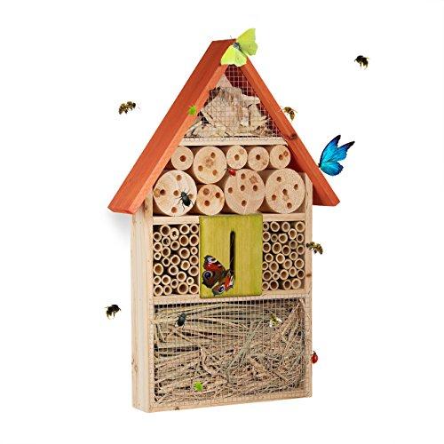 Relaxdays Insektenhotel für Schmetterlinge, Käfer, Bienenhaus zum Aufhängen, Balkon, HxBxT: 48,5 x 31 x 7 cm, bunt