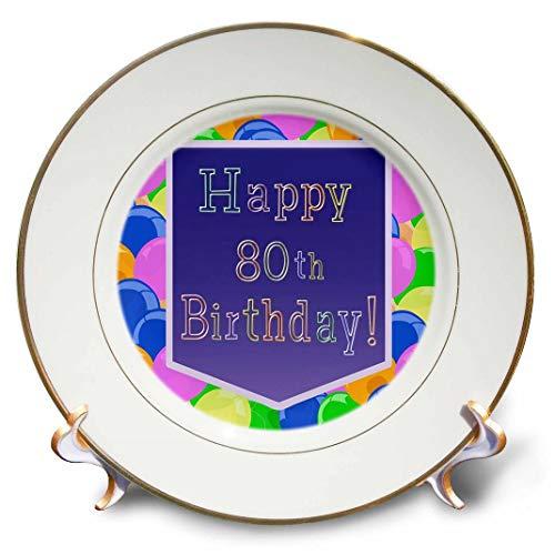 3dRose CP 173073_ 1Luftballons mit Lila Banner Happy 80th Birthday-Porcelain Teller, 20,3cm