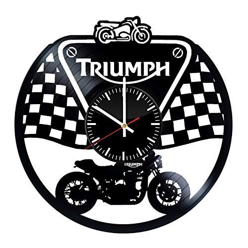Art League House Triumph Vinyl-Uhr - Triumph Bike Motorrad Sport Vinyl Schallplatten Wand Kunst Raumdekoration Party Supplies Thema originelle Geschenkidee - Vintage und Modern Stil (Dekorationen Bike-party)