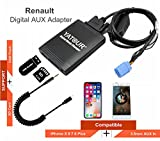 Renault - Adaptador de audio digital para iPhone estéreo AUX con tarjeta SD, iPod MP3 USB, 3,5 mm AUX IN, reproductor de música para 8 pines Renault 1998 – 2011 (REN8)