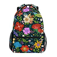 LIUBT Spring Colorful Floral Pattern Casual Backpack Student School Bag Travel Hiking Camping Laptop Daypack