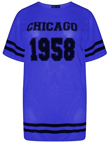 Neue Frauen Fluorescent Air Tech 1958 Anzahl Drucken sackartige Neon TShirts  3654 Royal Blue