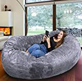Europe's Biggest beanbag - Gigantic Bean Bag Chair in Grey - Memory Foam Filling and Machine Washable Cover- Comfortable Cozy Lounge Sack to Chill, Huge Bed, Sofa for Kids and Adults