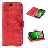Mulbess Handyhülle für Moto G7 Play Hülle, Leder Flip Case Schutzhülle für Motorola Moto G7 Play Tasche, Wein Rot