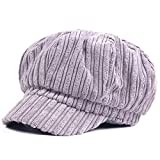 Kuyou Schirmmütze Warme Barett Mütze mit Schild Damen Winter Kappe Hut (Hellgrau)
