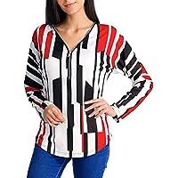 LILICAT✈ Camisa de Manga Larga a Rayas con Cuello en V con Cremallera Casual Mujer con Cuello en V Impreso con Cuello en V Cremallera Manga Larga Detalle Blusa Superior