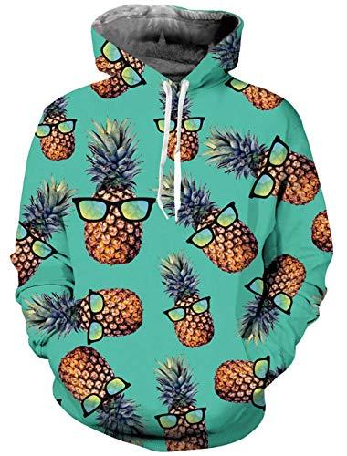 RAISEVERN Herren Hoodie 3D Ananas mit Brille Funy Design Langarm Pullover Sweatshirts Casaul Wear