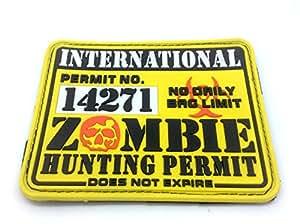 Permis de Chasse de Zombie International PVC Jaune Grand Airsoft Patch
