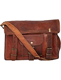 "Handcraft's ""Daisy"" Genuine Leather Unisex Cross Body Bag Vintage Brown G20-1400 ( 11x 8 Inch)"