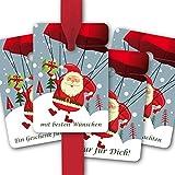 Weihnachts Geschenk Anhänger, Papieranhänger, Geschenk Karten (8Stk) universal Hänge Etiketten zu Weihnachten mit fliegendem Weihnachtsmann: Nur für Dich, Ein Geschenk für Dich, Frohe Weihnachten, die besten Wünsche