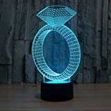 GYP 3D Kleine Tischlampe, kreative Led Paar Geburtstagsgeschenk Diamant Ring Lampe Sieben Farbe Touch Visuelle Lichter Hochzeit USB Plug in Valentinstag Tischlampe Touch Switch 247 * 128 * 87mm ( größe : 247*128*87mm )