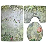 cleaer Jungle Bathroom Rug 3 Piece Bath Mat Set Contour Rug and Lid Cover