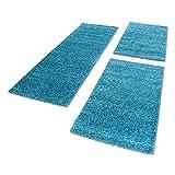 Unbekannt Shaggy Hochflor Teppich Carpet 3TLG Bettumrandung Läufer Set Schlafzimmer Flur, Farbe:Türkis, Bettset:2x60x110+1x80x150