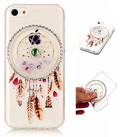 iPhone 5C Case Cover MUTOUREN TPU Silicone Soft TPU Case ultra-thin transparent clear Liquid Cover Stylish 3D Creative Red Dreamcatcher Design Quicksand Glitter Clear Crystal Gel Rubber Bumper Protective slim silicone shockproof anti-scratch case- quicksand dreamcatcher 05
