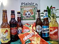 """Coffret de 6 bières représentant 6 pays de FootBall ( France, Brésil, Argentine, Allemagne, Espagne, Angleterre..) de 33cl + 2 sachets de """"chips"""" pour réussir ses soirées SPÉCIAL FOOT !... Le complément indispensable à une soirée réussie... Nous nous..."""