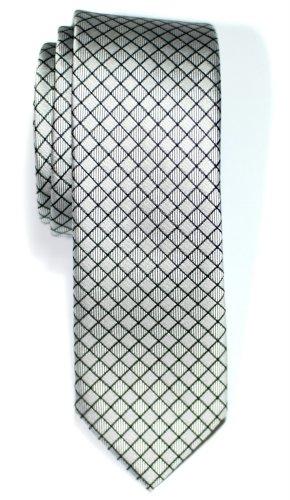 Retreez Herren Schmale Gewebte Krawatte Textur Karo 5 cm - silber (Gewebte Textur)