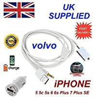 para VOLVO C30 C70 S40 S60 S80 V40 V50 V60 V70 XC60 XC70 Xc80 IPHONE 5 5c 5s 6 6s PLUS 7 7plus SE Some ipod's USB&3.5mm Aux Enchufe & Adaptador (EN BLANCO)