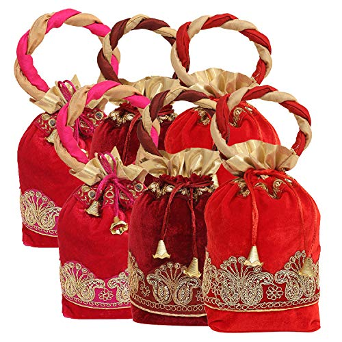 Kuber Industries Exclusive Zari Lace Velvet Rajasthani Potli Bag/Clutch/Bridal Clutch (Multi) Set of 6 Pcs-KESH662