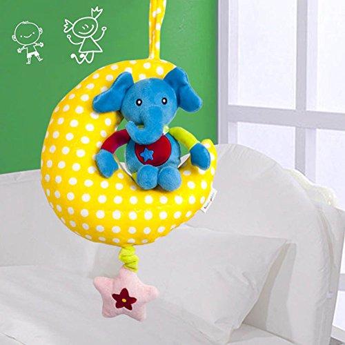 Moon musical tirón de cuerda de juguete Lathe colgar bebé niños muñecas multifunción juguetes educativos elefante