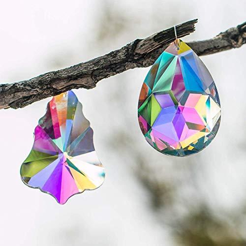 H&D 2 Stück Ahorn Blätter in Tropfenform und Bauhinien Anhänger Kristall Prism Sonne Fänger 76 mm -