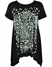 Ladies Plus Size Uneven Hem Short Sleeve Tiger Face Print Womens Stretch Top