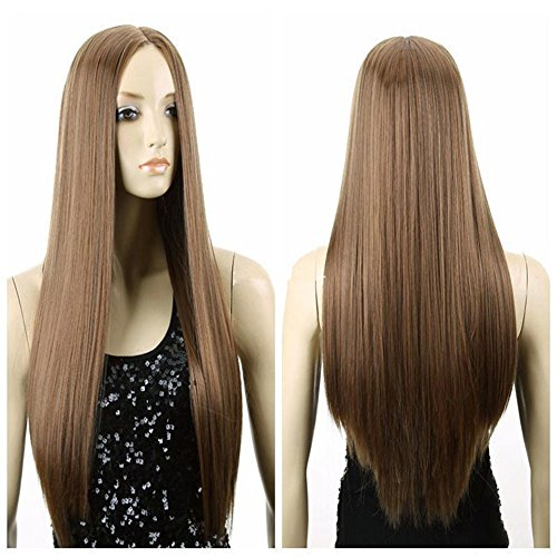 Spritech(TM)?New?Stylish?Fluffy Realistic?Light Brown Wig Long?Straight?Hair?Wig?Fiber?Synthetic?Women?Wig?With?Simulation?Scalp by (Kitty Wigs)