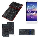 K-S-Trade® Filz Schutz Hülle Für -Alcatel U5 HD Dual SIM- Schutzhülle Filztasche Pouch Tasche Case Sleeve Handyhülle Filzhülle Dunkelgrau Roter Rand