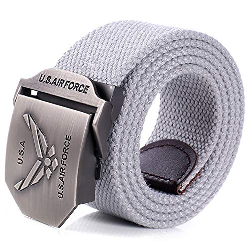 ZHYAODAI Men's Large Yards Adjustable Length Buckle Belt Canvas Thick Strip Belt, Gray, 110Cm.