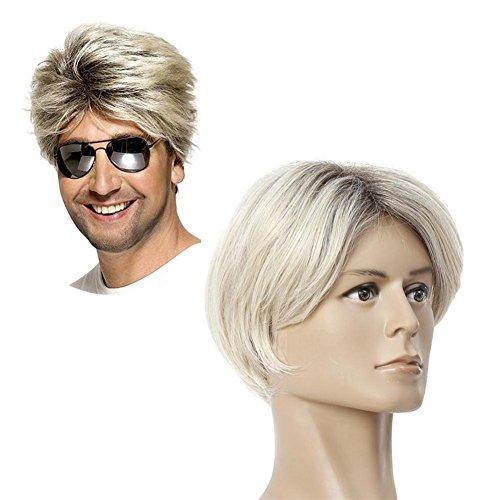 Reparatur Kostüm Mann - JIAF Herren Kurz Ombre Blond Perücke Natürlich Gerade Dunkel Wurzeln Synthetik Haar Voll Kopf Perücke zum Mann Cosplay Kostüm