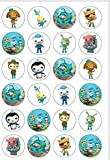 24 Precut 40mm Round Octonauts Edible Wafer Paper Cake Toppers