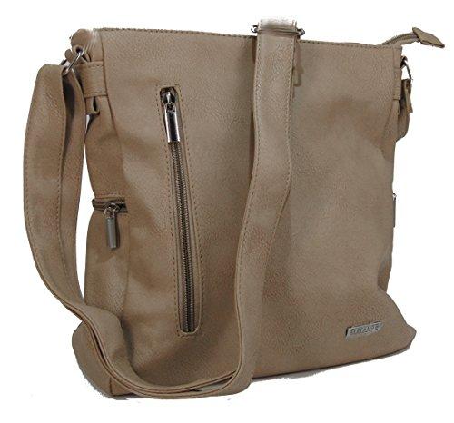 dcaf6af78bfb6 STEFANO moderne Damen Umhängetasche Schultertasche Frauen Handtasche soft  PU verschiedene Modelle M2 - Taupe