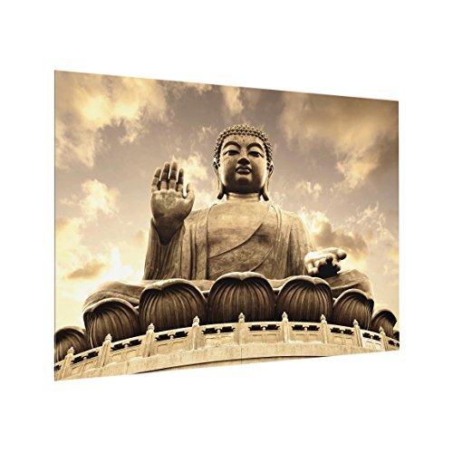 Spritzschutz Glas - Großer Buddha Sepia - Quer 3:4, HxB: 59cm x 80cm