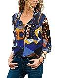 GOSOPIN Women Short Sleeve Tops Sexy V Neck Button Down Shirts Color Block Chiffon Tees Black Large