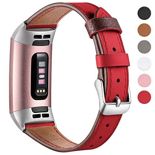 HUMENN Armband für Fitbit Charge 3 Leder Armbänder, Prämie Leder Einstellbare Ersatzband für Fitbit Charge 3, Fitness Zubehör für Männer Frauen Groß Rot